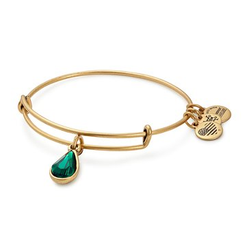 Alex and Ani May Birth Month Expandable Bangle with Emerald Swarovski Crystal, Gold Finish