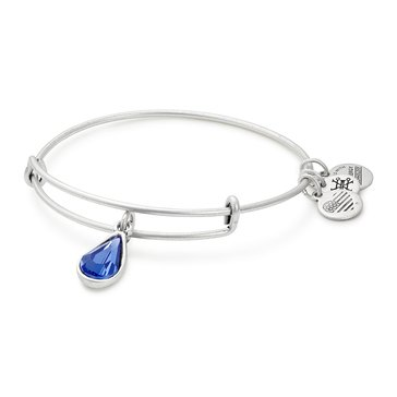 Alex and Ani September Birth Month Expandable Bangle with Sapphire Swarovski Crystal, Silver Finish