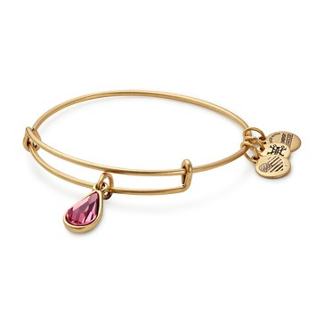 Alex and Ani October Birth Month Expandable Bangle with Rose Swarovski Crystal, Gold Finish