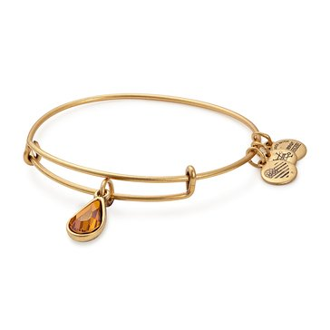 Alex and Ani November Birth Month Expandable Bangle with Topaz Swarovski Crystal, Gold Finish