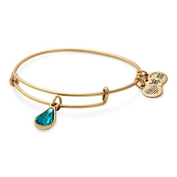 Alex and Ani December Birth Month Expandable Bangle with Blue Zircon Swarovski Crystal, Gold Finish