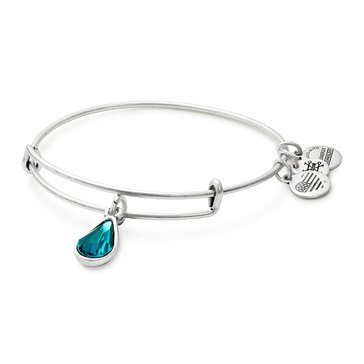 Alex and Ani December Birth Month Expandable Bangle with Blue Zircon Swarovski Crystal, Silver Finish