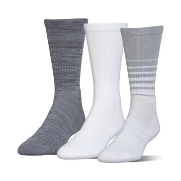 Under Armour Men's Phenom Twisted Crew Socks 3-Pack - White Assorted