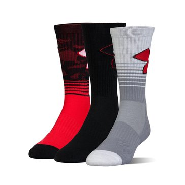 Under Armour Men's Phenom 2.0 Crew Socks 3-Pack - Red Assorted