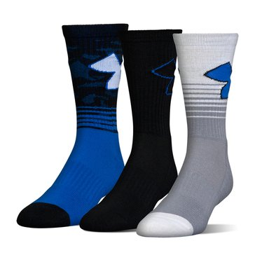 Under Armour Men's Phenom 2.0 Crew Socks 3-Pack - Blue Assorted