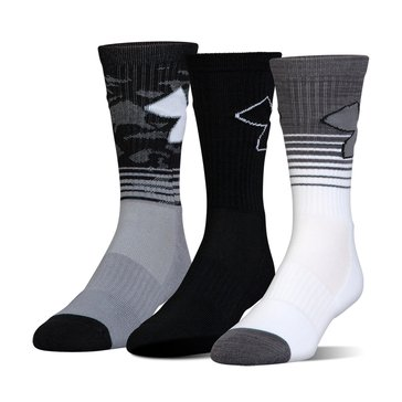 Under Armour Men's Phenom 2.0 Crew Socks 3-Pack - Steel Assorted