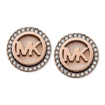 Michael Kors Gold-Tone MK Logo Pave Halo Stud Earrings