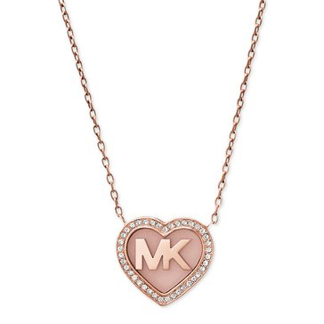 Michael Kors Rose Gold-Tone Cubic Zirconia Heart Logo Necklace