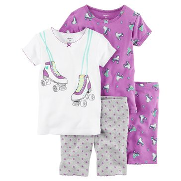 Carter's Little Girls' 4-Piece Roller Skate Pajama Set