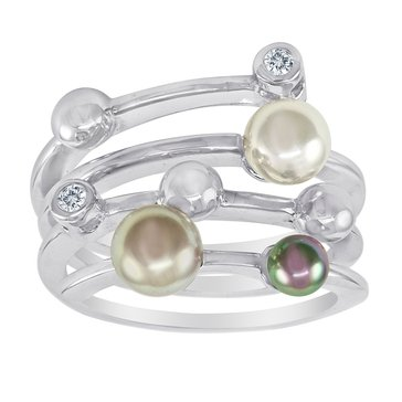 Majorica 4mm Simulated Round Pearl & Cubic Zirconia Endless Ring