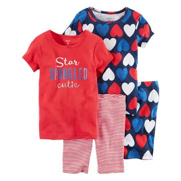 Carter's Big Girls' 4-Piece Americana Pajama Set