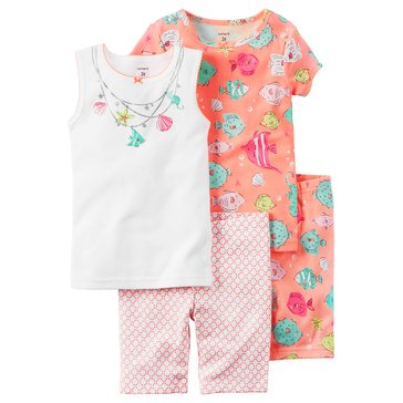 Carter's Toddler Girls' 4-Piece Sealife Pajama Set