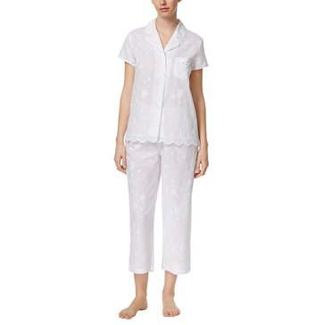 Charter Club Short Sleeve Woven Pajama Bright White