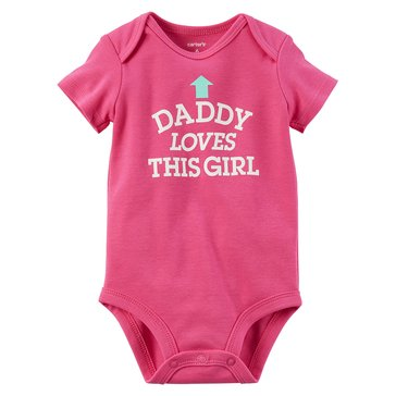 Carter's Baby Girls' Slogan Bodysuit, Dady Loves