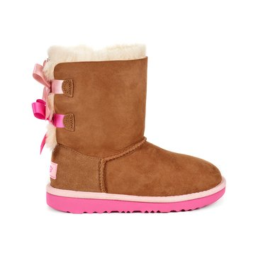 UGG K Bailey Bow II  Girl's Casual Boot Chestnut/ Pink Azaela