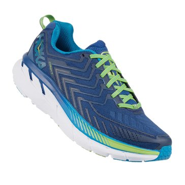 Hoka Men's Clifton 4 Running Shoe - True Blue / Jamsine Green
