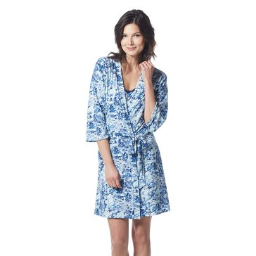 Rene Rofe Lace Me Up Robe and Chemise Set Light Blue Floral