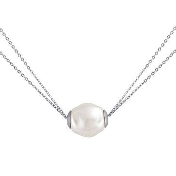 Majorica 12mm Simulated Baroque Pearl Two Row Chain Necklace