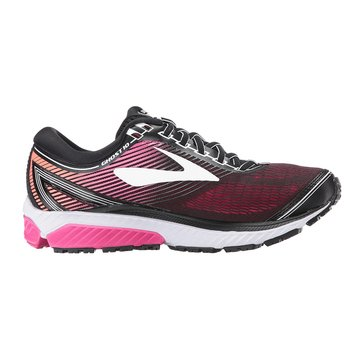 Brooks Women's Ghost 10 Running Shoe- Black / PinkPeacock / LivingCoral