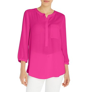 Not Your Daughter's Jeans Solid Pleat Back Blouse in Bright Pink