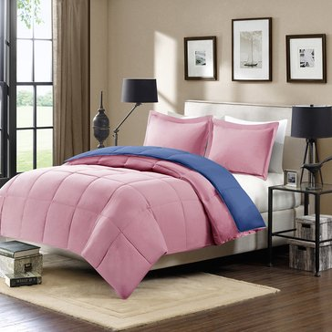 Harbor Home Down Alternative Reversible Mini Set, Blossom Pink/Navy - Twin