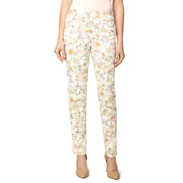 Brooks Brothers Floral Stem Print Pant White Multi