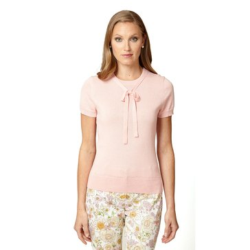 Brooks Brothers Short Sleeve Drop Neck Bow Sweater Pink
