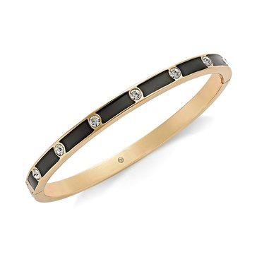 Kate Spade Gold Tone Black Enamel Hinged Bangle
