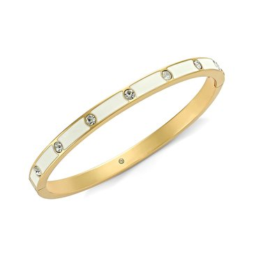Kate Spade Gold Tone White Enamel Hinged Bangle
