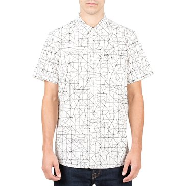 Volcom Men's Invert Geo Short Sleeve Woven Print Cloud Top