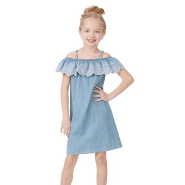 Maison Jules Girls Off Shoulder Embroidered Ruffle Denim Dress in Light Wash