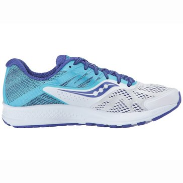 Saucony Ride 10 Wide Women's Running Shoe - White / Blue