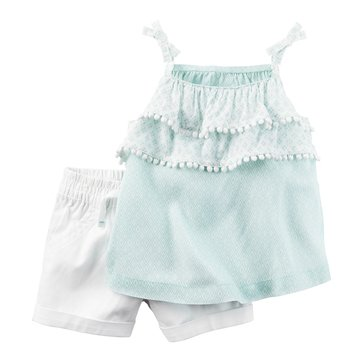 Carter's Baby GIrls' 2-Piece Short Set, Ruffle Geo