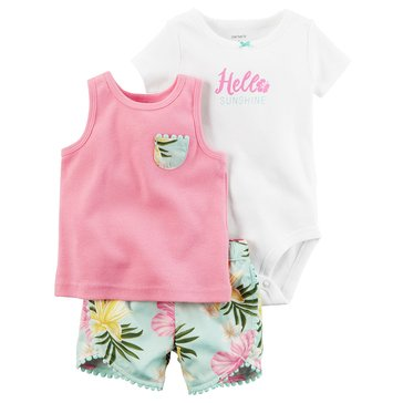Carter's Baby Girls' 3-Piece Tank Set, Hello Sunshine