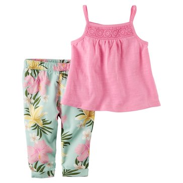 Carter's Baby Girls' 2-Piece Tank Top and Pants Set, Tropical Floral