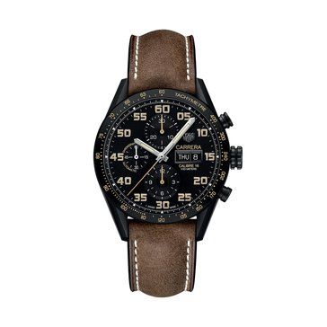 Tag Heuer Men's Carrera Calibre 16 Automatic Black Ceramic/Brown Leather Chronograph Watch, 43mm