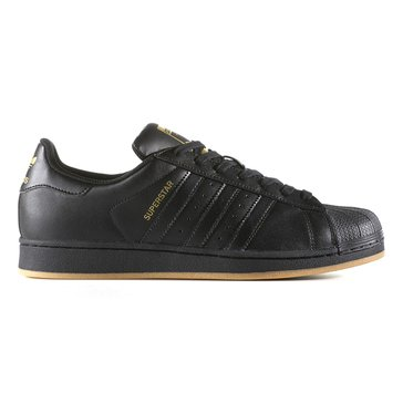 adidas Superstar Men's Basketball Shoe - Core Black / Gold Metallic / Gum3