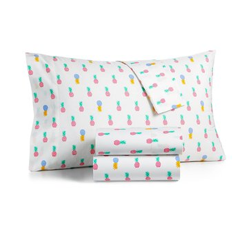 Martha Stewart Whim Collection 200 Thread-Count Sheet Set, Pineapple - Queen