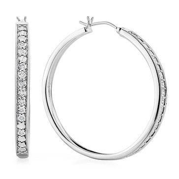 Sterling Silver 1/5 cttw Diamond Hoop Earring