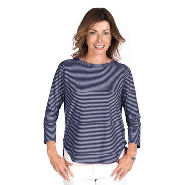 Fresh Produce Women's Pinstriped Catalina 3/4 Sleeve Top in Moonlight