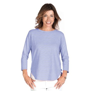 Fresh Produce Pinstripe Catalina 3/4 Sleeve Top in Periwinkle