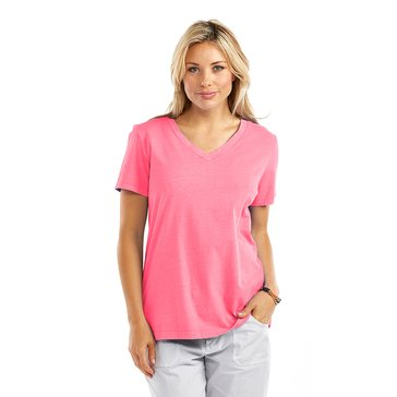 Fresh Produce Women's Solid Allure Short Sleeve V-Neck Tee in Papaya Fruit