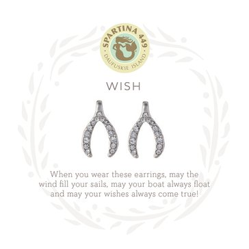 Spartina 449 Sea La Vie Stud Earrings Wishbone Silver