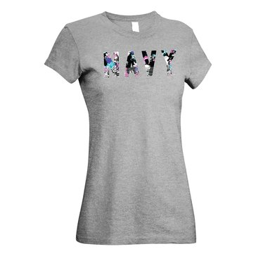 M.J. Soffe Women's Navy With Floral Design Short Sleeve Crew Tee