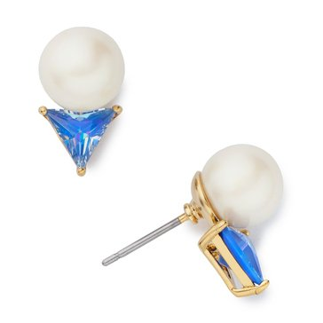 Kate Spade Gold Tone 'Bright Ideas' Blue Triangle Stud Earrings