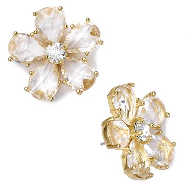Kate Spade Gold Tone 'In Full Bloom' Clear Stud Earrings