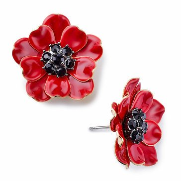 Kate Spade Gold Tone 'Precious Poppies' Red Multi Studs
