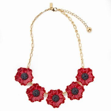 Kate Spade Gold Tone 'Precious Poppies' Red Multi Necklace
