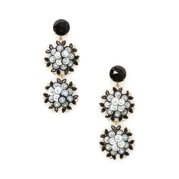 Kate Spade Gold Tone 'Be Bold' Black Multi Triple Drop Earrings