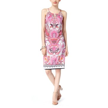 INC International Concepts Paisley Print Keyhole Dress With Border in Water Lily